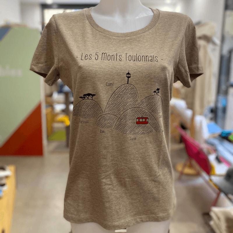 """Tee shirt femme sable """"5 Monts Toulonnais"""" en coton bio By LMS Toulon"""