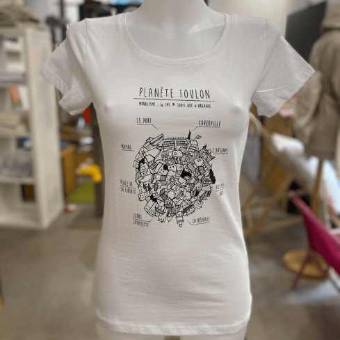 "Tee shirt femme blanc ""Planète Toulon"" en coton bio By LMS Toulon"