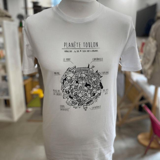 """tee shirt blanc coton bio unisexe """"Planète Toulon"""" By LMS Toulon"""