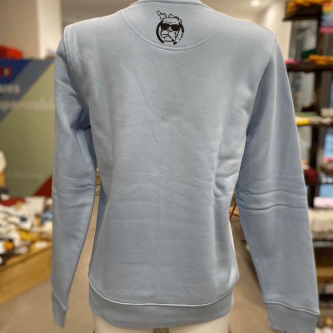 "sweat molletonné mixte sportswear ""Tortue Goulue"" bleu ciel en coton bio By LMS"
