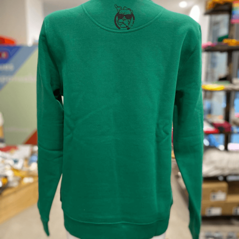 "sweat molletonné unisexe sportswear ""Tortue Goulue"" vert en coton bio By LMS"