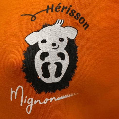 "sweat molletonné unisexe sportswear ""Hérisson Mignon"" orange en coton bio By LMS"