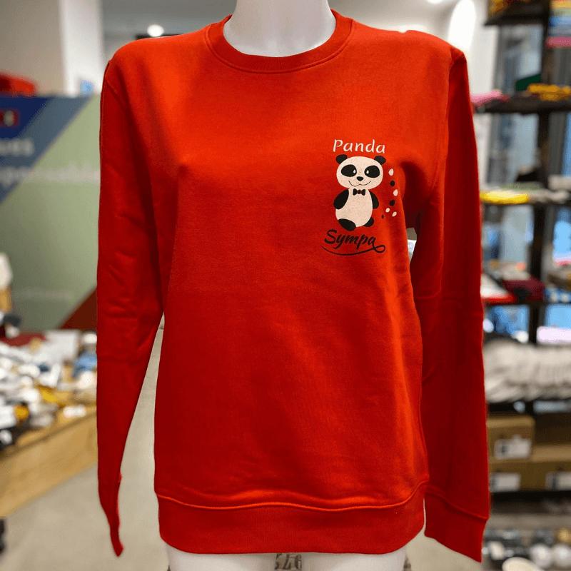 """sweat molletonné unisexe sportswear """"Panda Sympa"""" rouge en coton bio By LMS"""