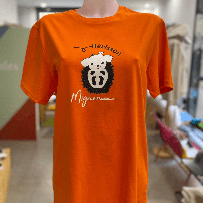 "t shirt hérisson unisexe sportswear ""hérisson mignon"" orange en coton bio By LMS"