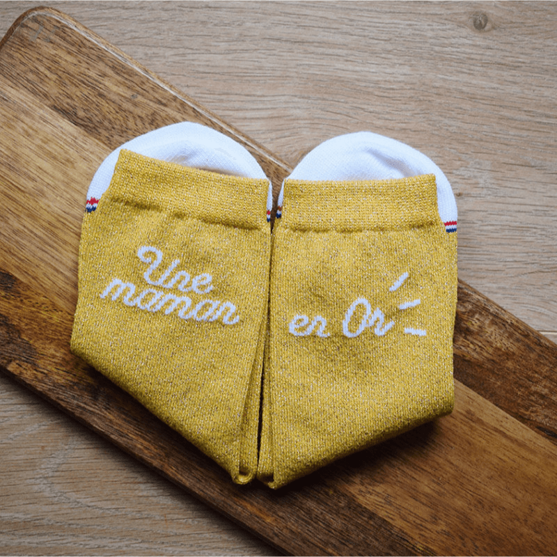 """chaussettes dépareillées femme """"Nathalie Une Maman en Or"""" made in France"""