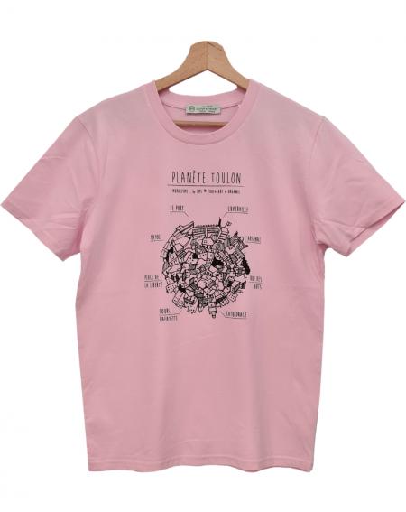 t-shirt stylé rose pivoine Planète Toulon en coton bio par By LMS