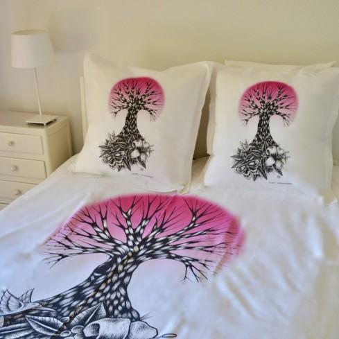 """parure de lit coton bio et équitable """"Life rose"""""""