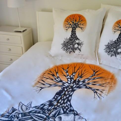 """parure de lit coton bio et équitable """"Life orange"""""""