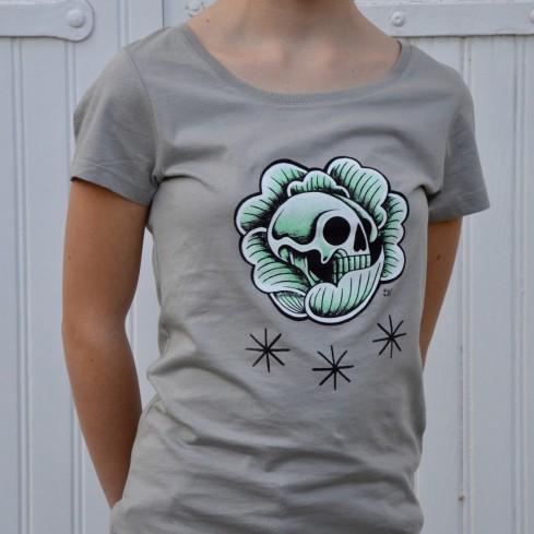 """Tee shirt cintré femme """"Skull chou vert"""""""