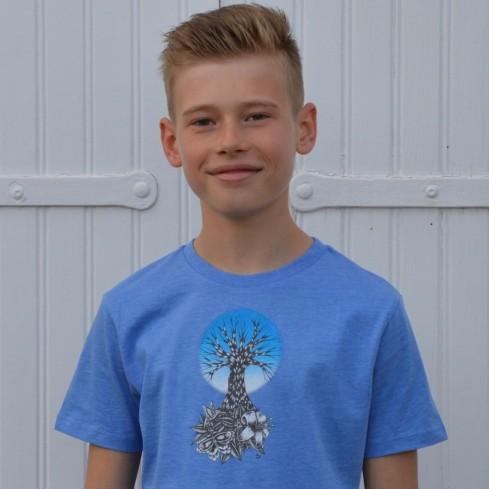 "Tee shirt enfant en coton bio ""Life bleu"""
