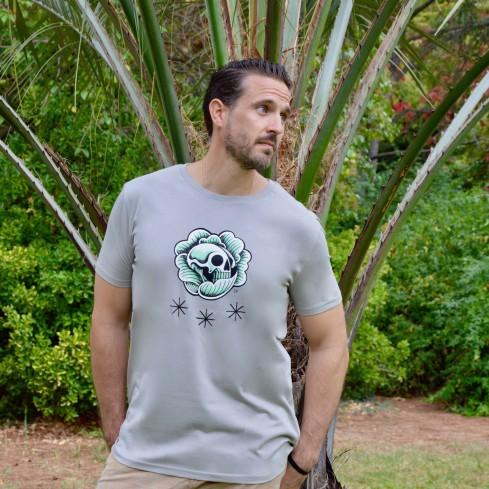 """Tee shirt coton biologique homme """"Skull chou vert"""""""