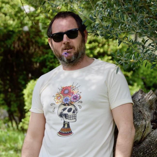 """Tee shirt homme stylé """"Skull flower"""""""