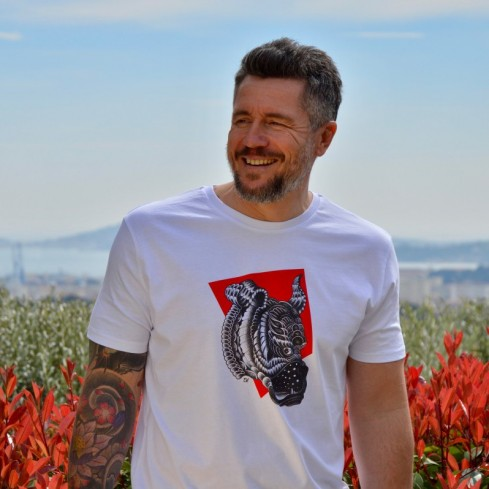 """Tee shirtcoton biologique pour homme """"Guell tooth rouge"""""""