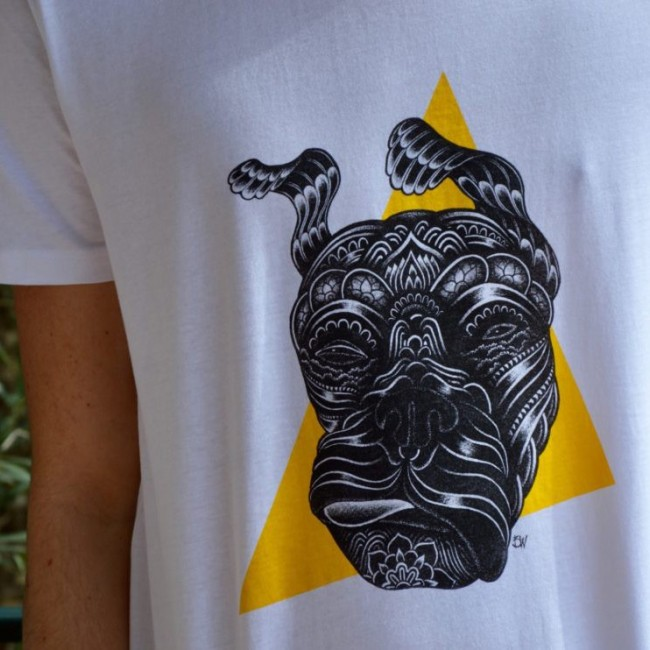 """tee shirt homme fabrication francaise """"Guell tongue jaune"""""""