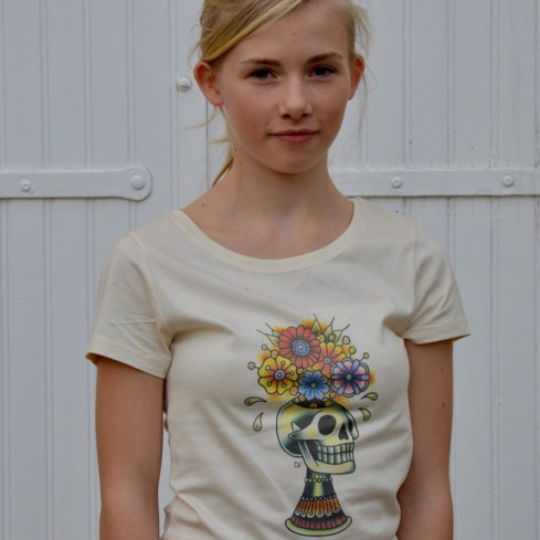 "T-shirt Femme design coton bio ""Skull flower"" ...by LMS"