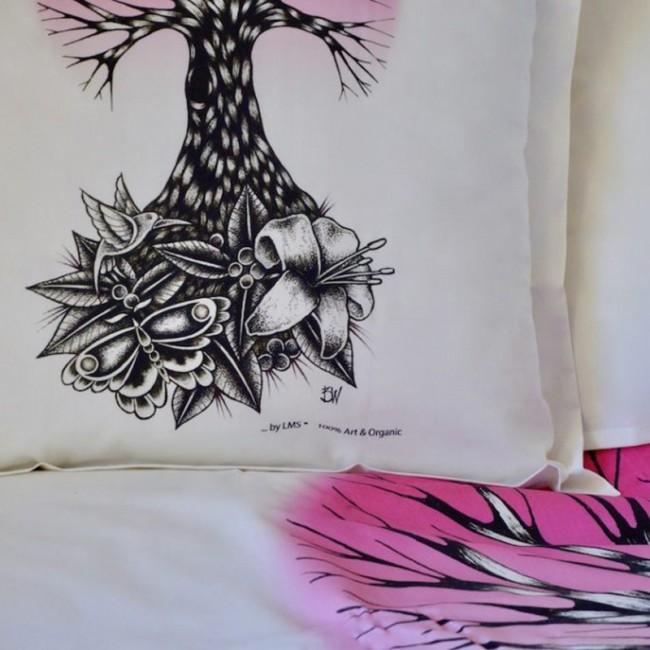 """linge de lit coton bio pour bébé """"Life rose"""""""