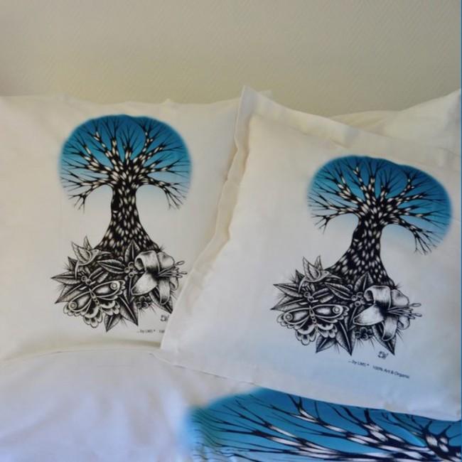 """linge de lit coton bio pour bébé """"Life bleu"""""""