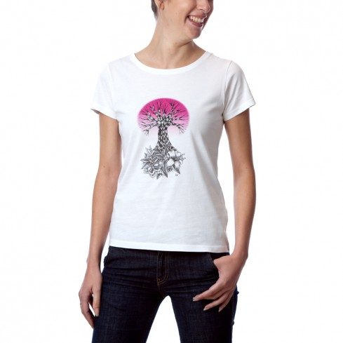 T-shirt femme 100% naturel Life rose collection Black Wreck