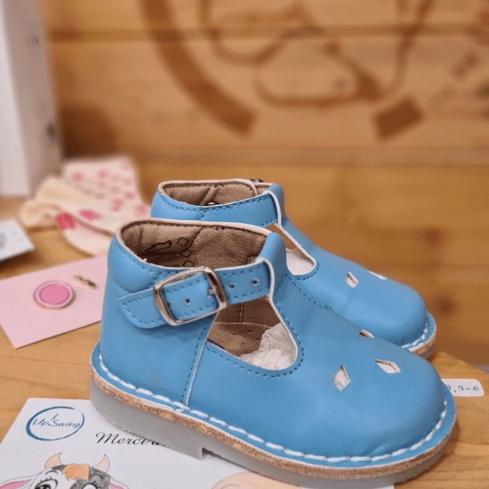 Chaussures en cuir végétalien Mixte enfants Classy bleu approuvé Peta