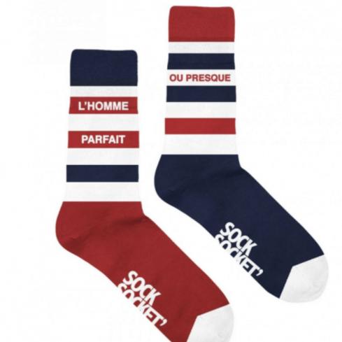 """chaussettes dépareillées homme """"L'homme parfait ou Presque"""" made in France"""