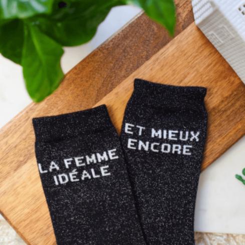 """chaussettes dépareillées femme """"Léa La Femme Parfaite et mieux encore"""" made in France"""