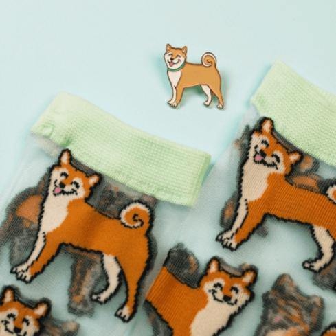 """Chaussettes marrantes transparentes mixte Coucou Suzette """"Shiba"""""""